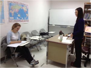 Hard at work in Chinese class at Fo Guang University