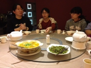 Having dinner with some local friends, one way I keep up with my Chinese conversation skills