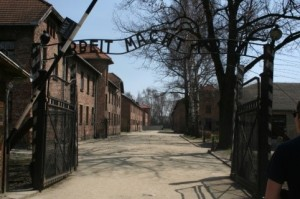 The entrance to Auschwitz I.