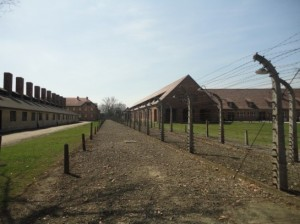 A dividing line in Auschwitz between soldiers and prisoners