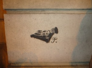 More public street art; this one depicting a phonograph with a 'P' which presumably represents 'Poland.'