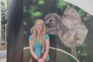 This is a picture of a three toed sloth that I had to take a picture with.