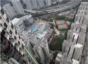 View down from condo