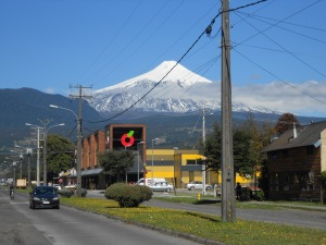 View of Volcan Villarica from our hostel