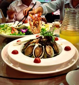 Abalone, an expensive and tasty seafood dish served during festive occasions