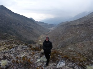 Here's me at the top of a ridge… but still at the base of Pan de Azucar and yes, it was freezing cold up  there!