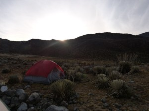 The sunrise at 6:30AM over our campsite- we had frost on top of our tent after a night of rain!
