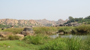 Clean air, green grass in Hampi