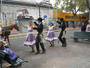Four young adults dancing the Cueca
