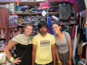 Keddy and I with the grumpiest shopkeeper in Bangalore