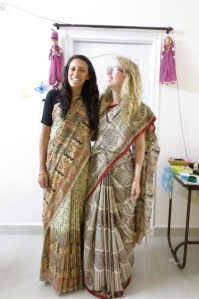 Montana and I wearing our new Kalamkari saris