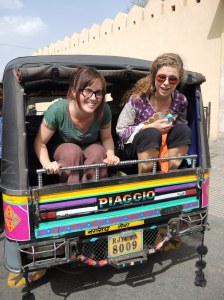 On the trunk of a rickshaw