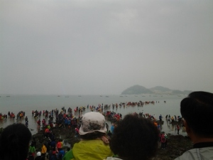 People heading out into the sea