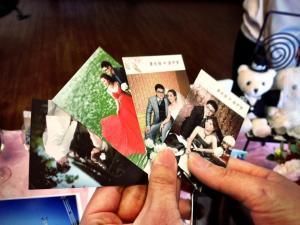 Photo cards of the couple, which are becoming increasingly popular in Taiwan and is a side effect of increasing Western influence in the country