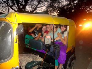Piling into a rickshaw