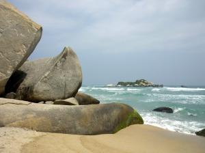 Rock formations on the beach at Tayrona