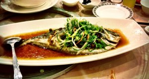 Steamed fish in soy sauce, a very traditional dish served during celebrations