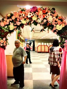 The floral arch that marked the entrance to the banquet hall