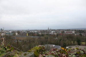 View of Cork hiking up the hill across the river